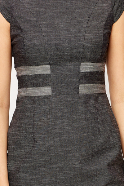 Dark Grey Stripe Pencil Dress