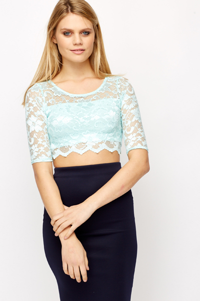 Laced Scallop Hem Crop Top