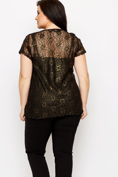 Contrast Floral Lace Top