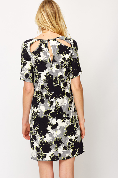 Contrast Floral Tunic Dress
