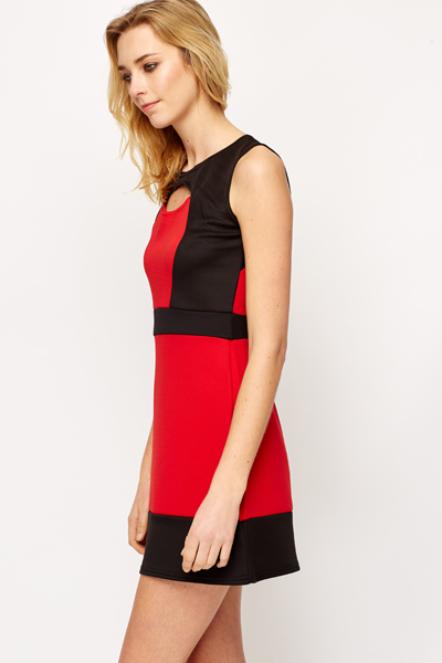 Cut Out Contrast Dress