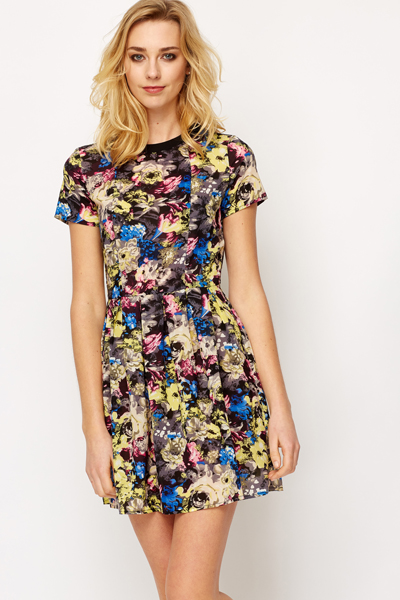Sheer Floral Print Skater Dress - Just £5