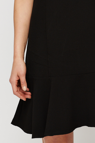 Black Ruffle Hem Dress