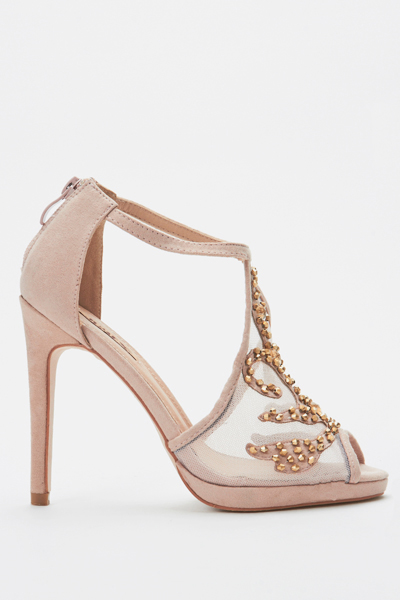 Embellished Cut Out Mesh Heels