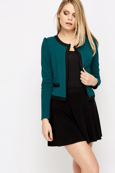 Open Front Cropped Jacket