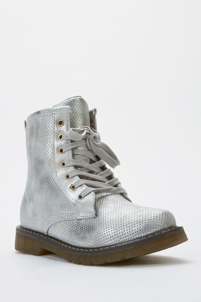 Perforated Biker Boots