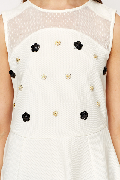 Embellished Flower Skater Dress