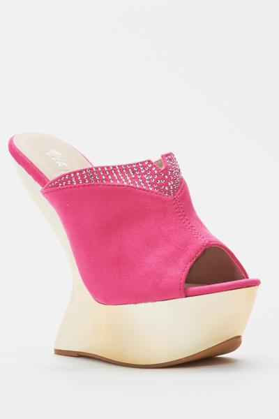 Peep Toe Curved Wedge Sandal Heels Beige Or Nero Just 163 5