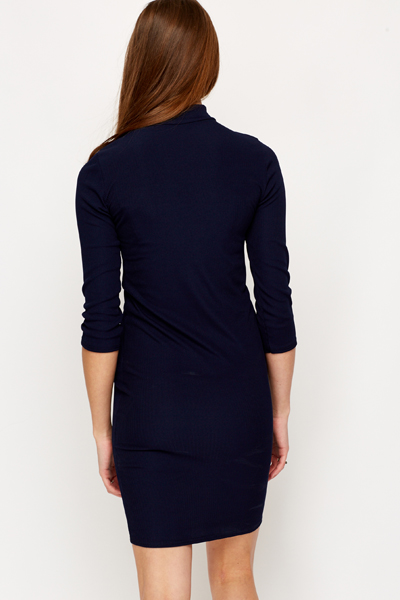 Ribbed Turtle Neck Bodycon Dress