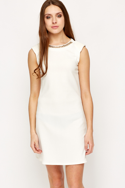 Built In Chain Necklace Bodycon Dress