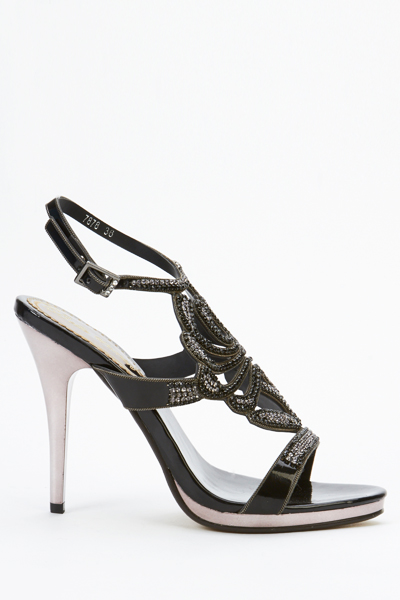 Embellished Cut Out Strappy Sandal Heels