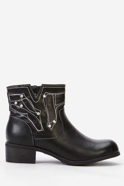 Faux Leather Stitich Trim Ankle Boots