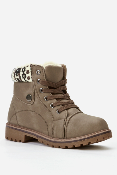 Fleece Trim Biker Boots
