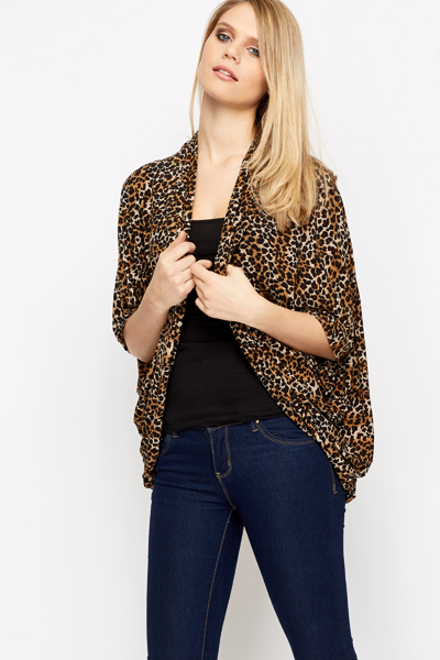Open Front Leopard Print Cardigan