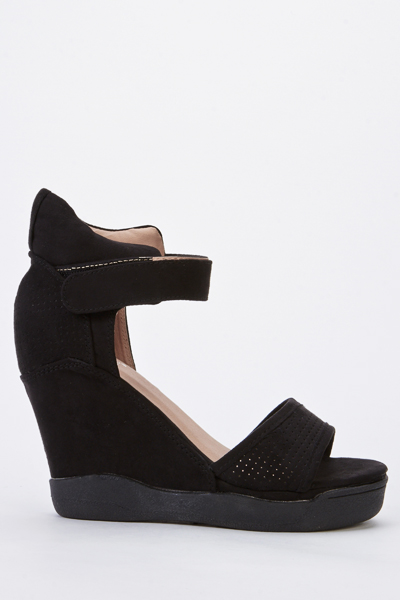 Velour Wedge Sandals