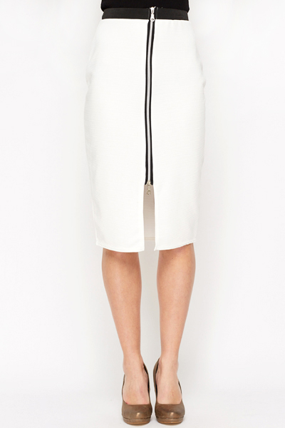 Zip Front Bodycon Skirt