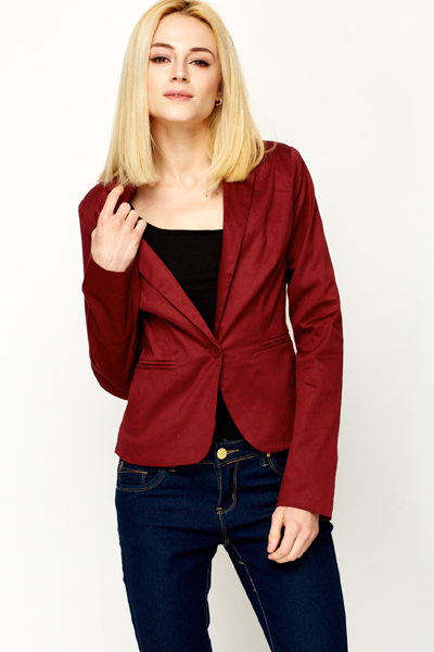 Cotton Single Button Blazer