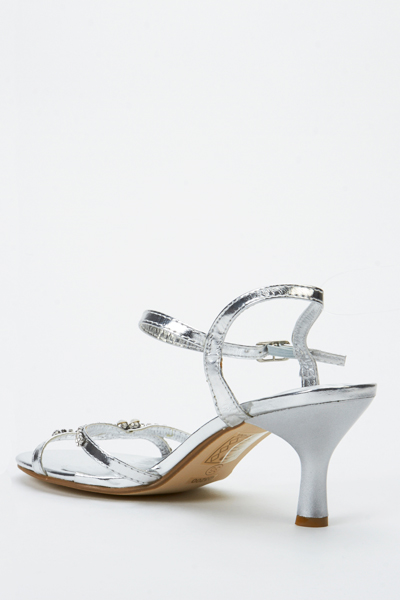 Kitten Heel Encrusted Sandals