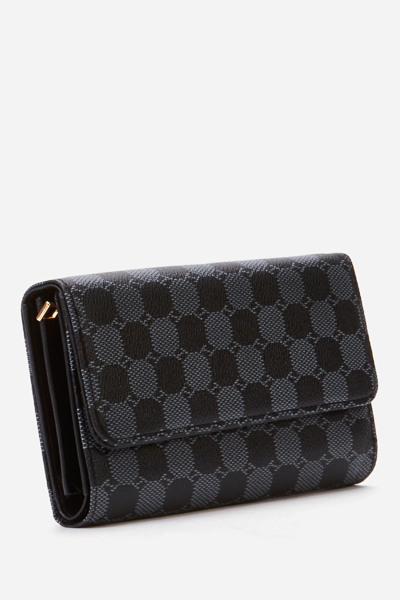 Textured Faux Leather Black Wallet