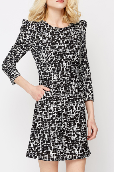 Textured Print Shift Dress