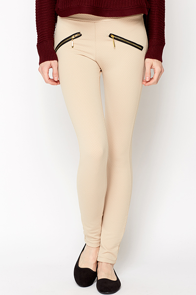 Gold Zip Jacquard Leggings
