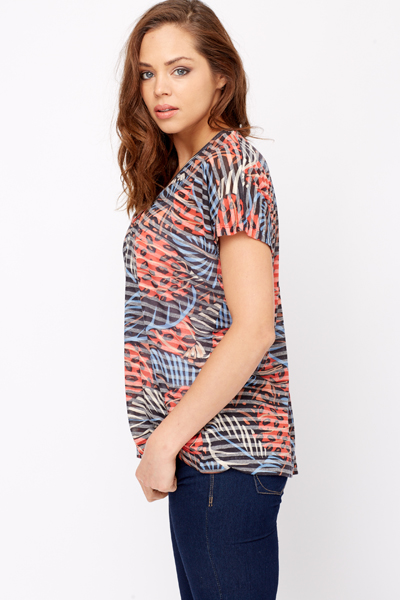 Low V-Neck Oversize Top