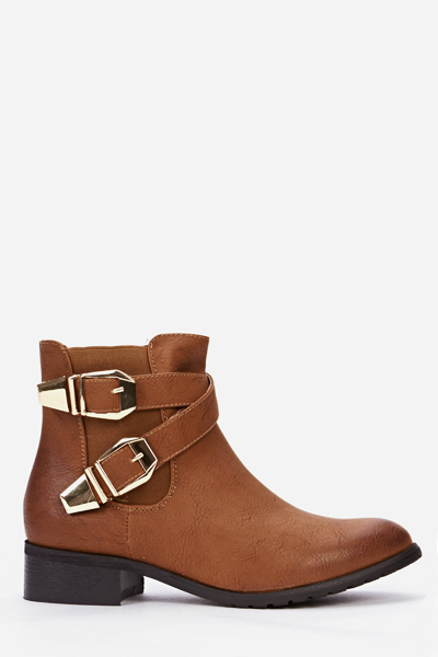 Gold Buckle Side Boots