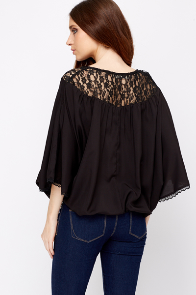 Lace Panel Batwing Top