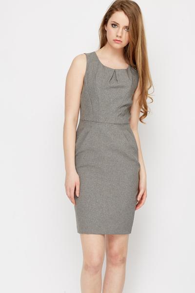 Pleat Neck Office Dress