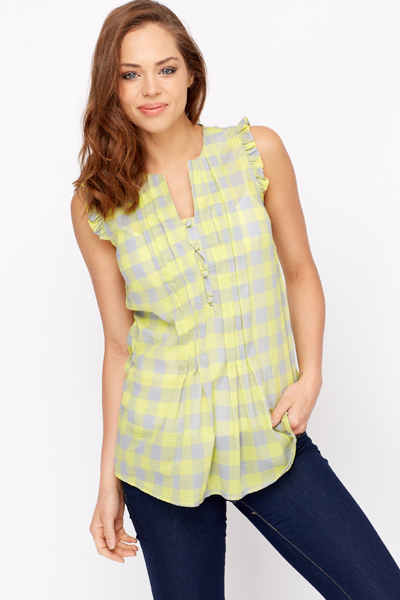 Ruffle Shoulder Cotton Blouse