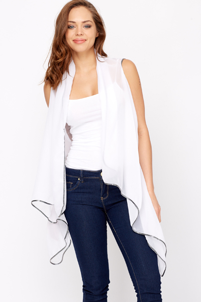 Contrast Trim Mesh Waterfall Cardigan