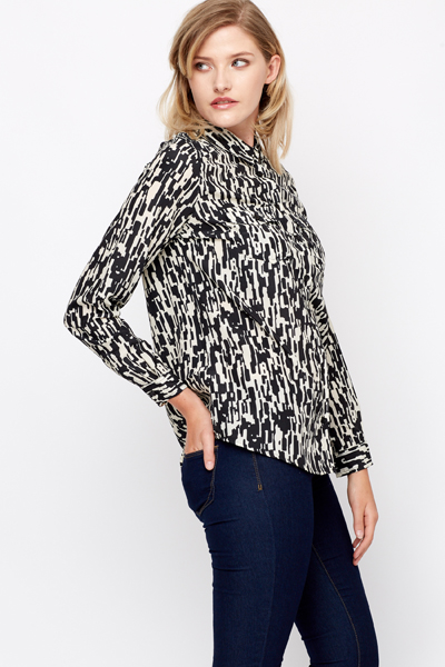 Silky Feel Button Front Blouse