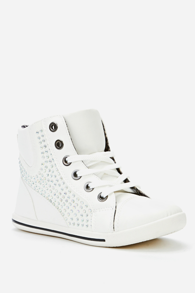 Encrusted Diamante Side High Top Trainers