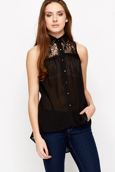 Lace Insert Studded Collar Blouse