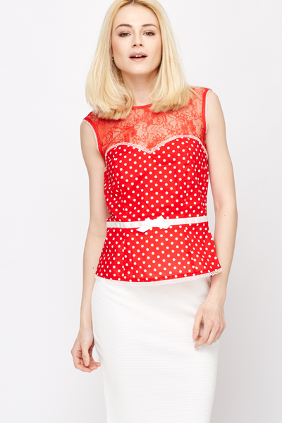 Lace Trim Polka Dot Sleeveless Top