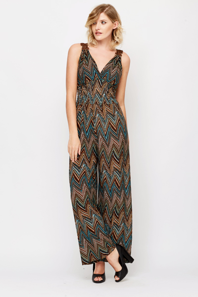 Multi Aztec Crochet Trim Jumpsuit