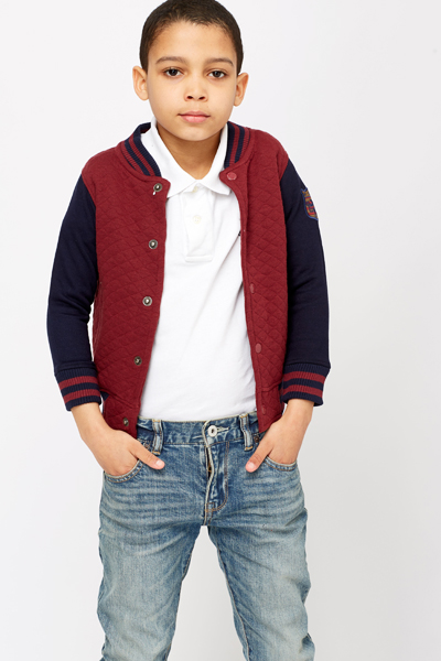 Image of Quilted Front Varsity Jacket