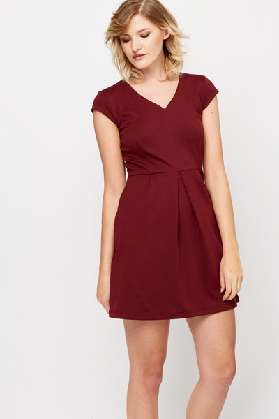 Burgundy Skater Dress