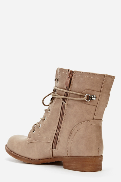 Zip Side Khaki Biker Boots