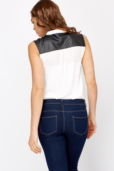 Faux Leather Insert Blouse