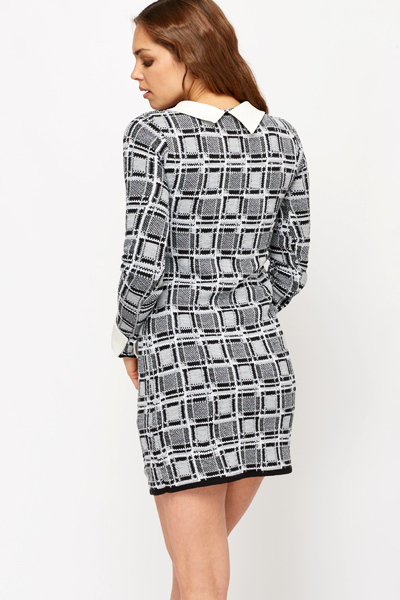 Heavy Knit Checked Dress