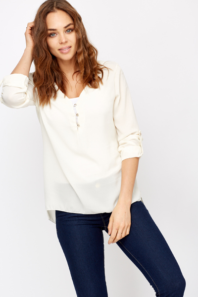 Multi Button Sheer Blouse