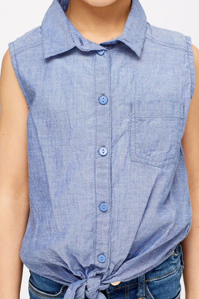 Tie Up To Hem Denim Shirt