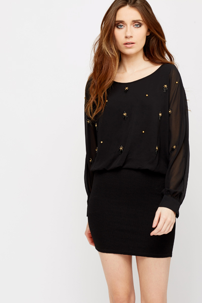 Batwing Encrusted Tunic Dress