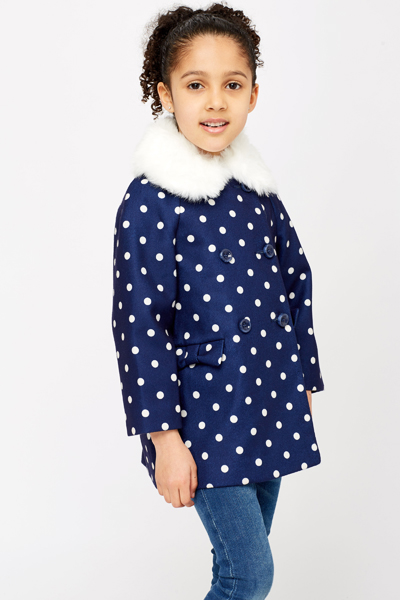 Faux Fur Collar Polka Dot Coat