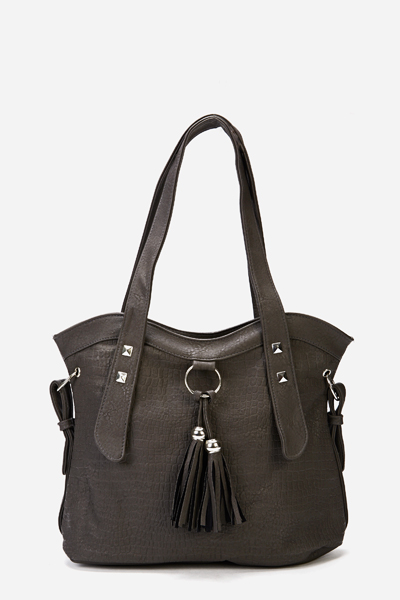 Front Tassel Faux Leather Bag