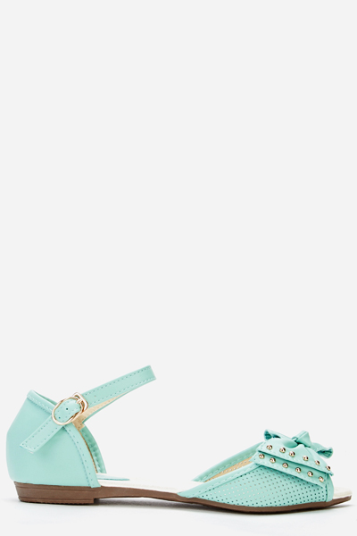 Stud Trim Bow Flat Sandals