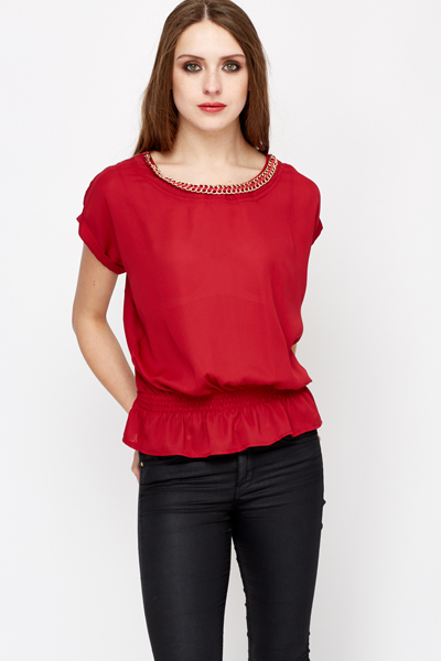 Chain Embellished Neck Mesh Blouse