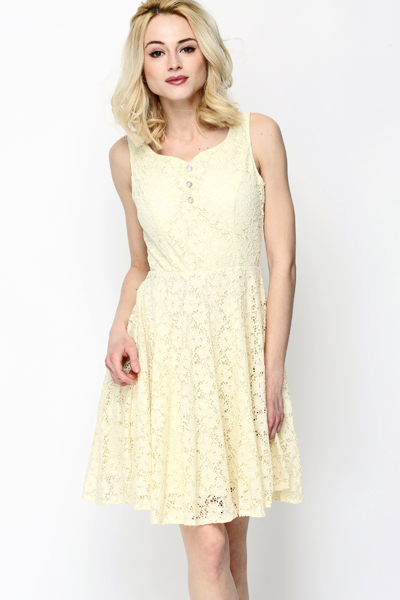 Encrusted Button Lace Dress