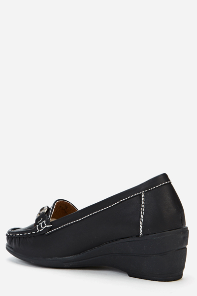 Faux Leather Wedge Brogues